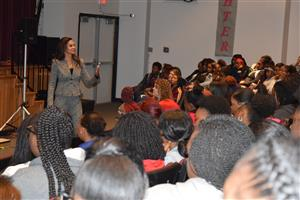 Dr. Hall presents to students