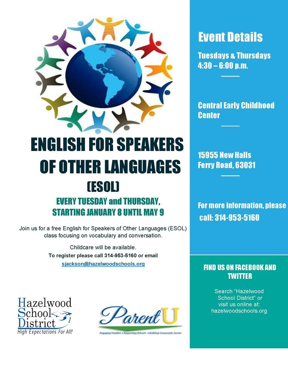 English for Speakers of Other Languages Flyer