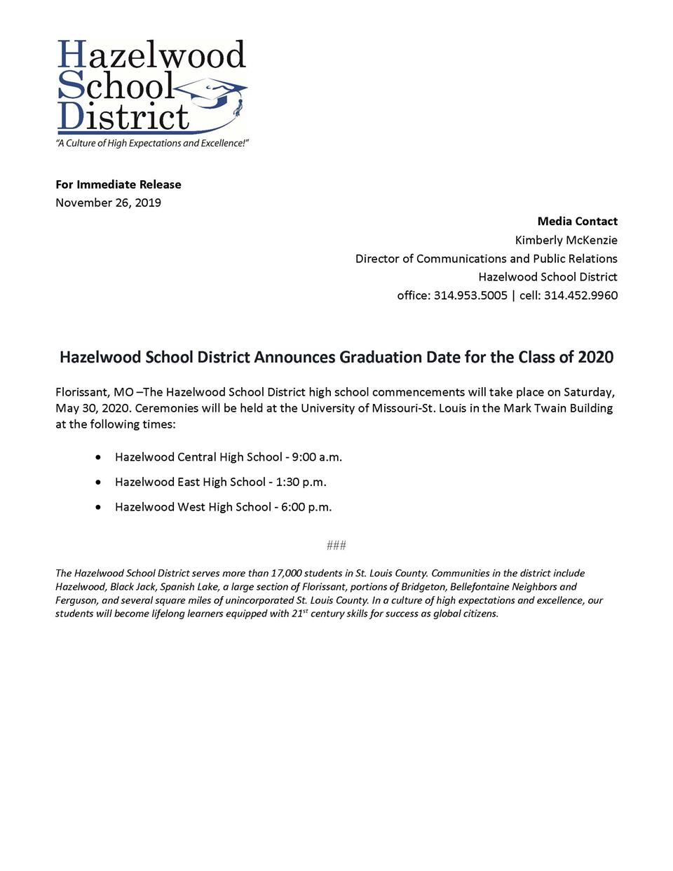 Graduation Dates for 2020