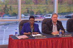 Superintendent Dr. Nettie Collins-Hart and Board President Mark Behlmann
