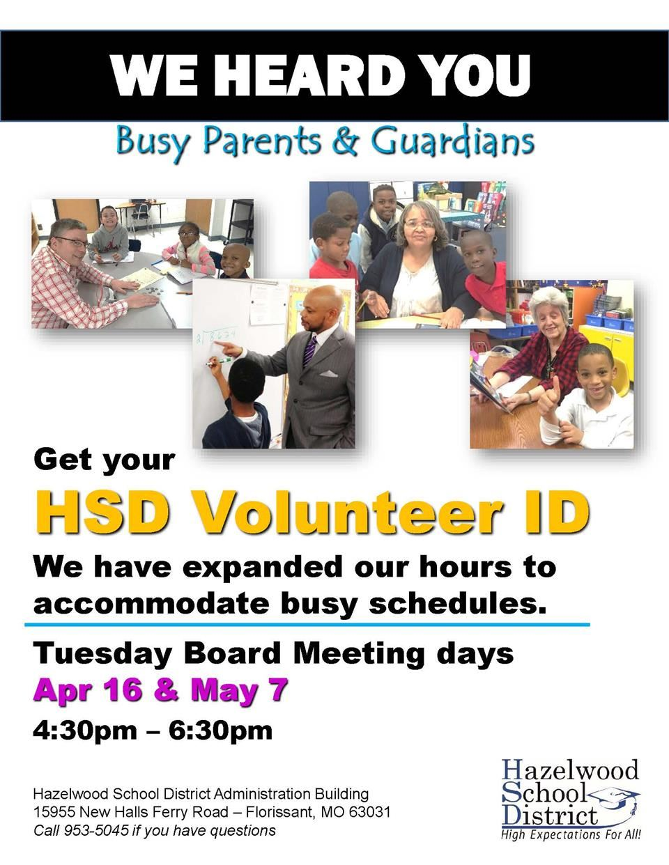 Volunteer ID Badge Hours Extended