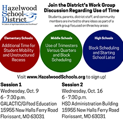 Join the District's Work Group Discussion Regarding Use of Time