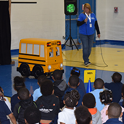 Buster the Bus teaches school bus safety at Townsend Elementary