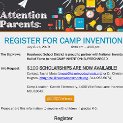 Scholarships Now Available for Camp Invention